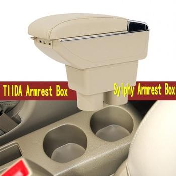 Dla Nissan Tiida pole podłokietnik centrum pudełko do przechowywania z uchwytem na kubek popielniczka akcesoria do wnętrz części dekoracji 2005-2014 tanie i dobre opinie WOKAFU CN (pochodzenie) 14cm 34cm ABS+LEATHER Podłokietniki Handrails storage rise mobile device charging 15cm Nissan Sylphy Tiida armrest box