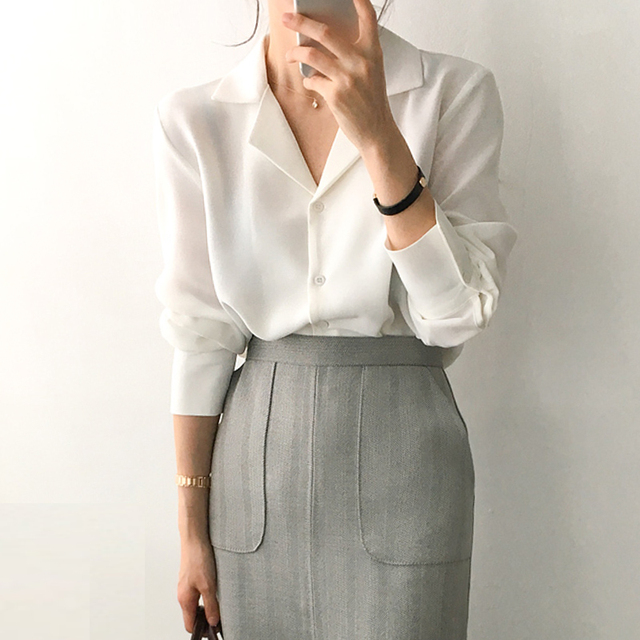 Womens Tops And Blouses Solid White Chiffon Blouse Office Shirt Blusas Mujer De Moda Long Sleeve Women Shirts Clothes A405