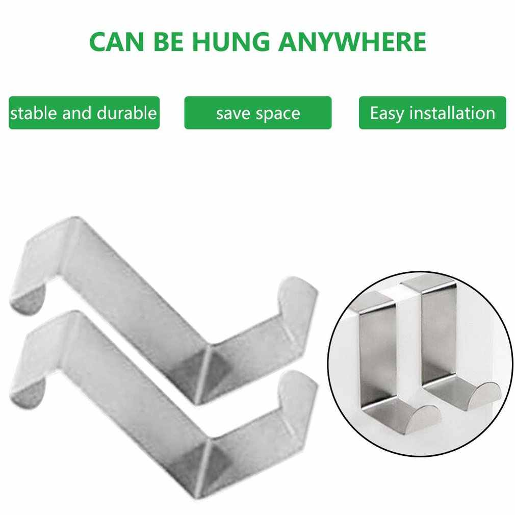 2PC Door Hook Stainless Kitchen Cabinet Clothes Hanger