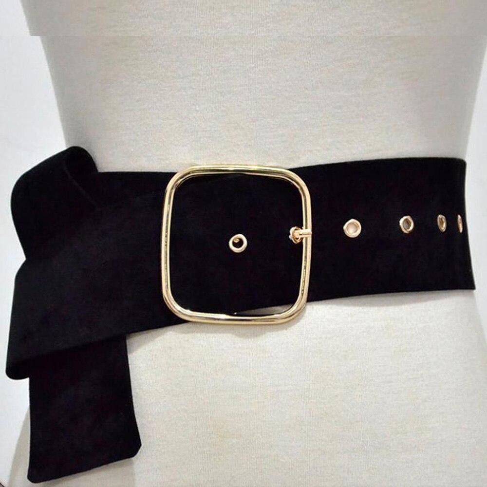 Black Wide Corset Velvet Belts For Women Shapewear Gold Buckle Cumberbund Female Decorate Accessories Waistband Long Waist Belt