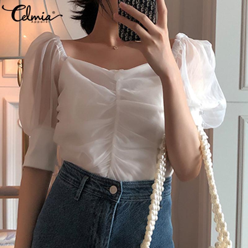 Top Fashion Transparent White Shirts Celmia Women Mesh Sheer Blouses Summer Short Sleeve Square Collar Puff Sleeve Casual Blusas