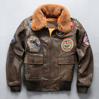 2020 Brown Men Top Gun G1 Pilot Jacket Wool Collar Plus Size XXXL Genuine Cowhide Short Aviator Leather Coat
