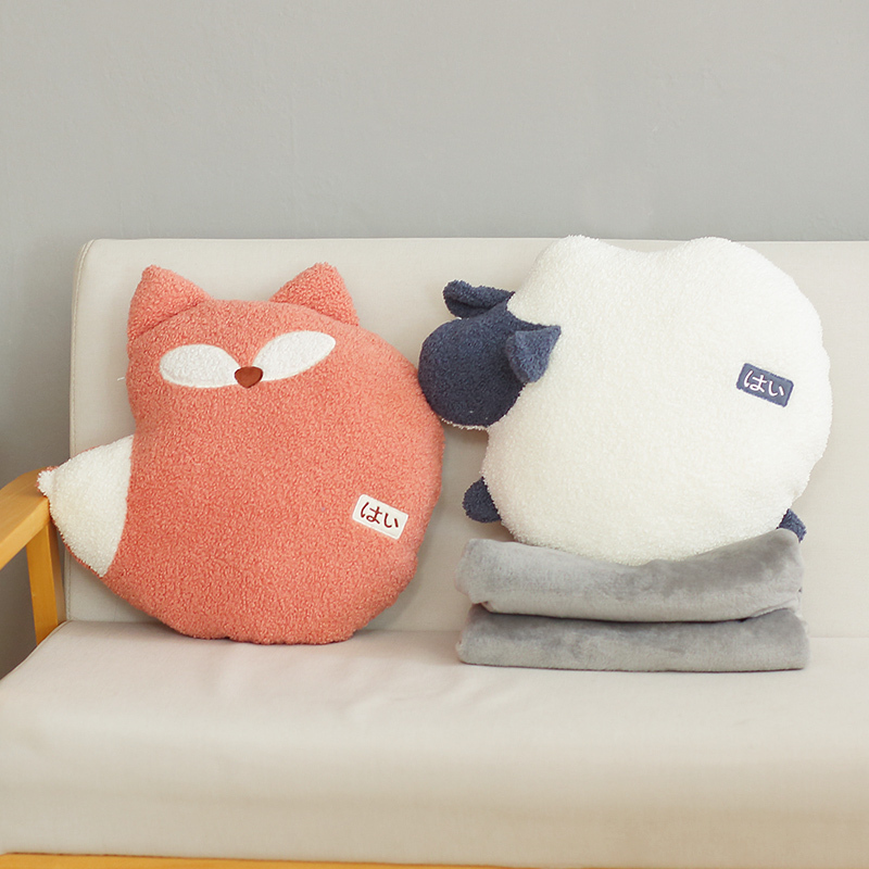 Animal Plush Toys Soft Stuffed Big Blanket Cute Dophin Fox Animals Cartoon Doll Office Nap Pillow Birthday Gifts For Girl Just6F