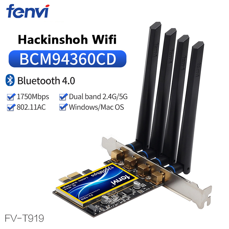 FV-T919 Dual band 1750Mbps 802.11AC Hackintosh PCI-E WiFi Adapter PCI Express Wireless BCM94360CD + Bluetooth BT 4.0 4*Antenna(China)