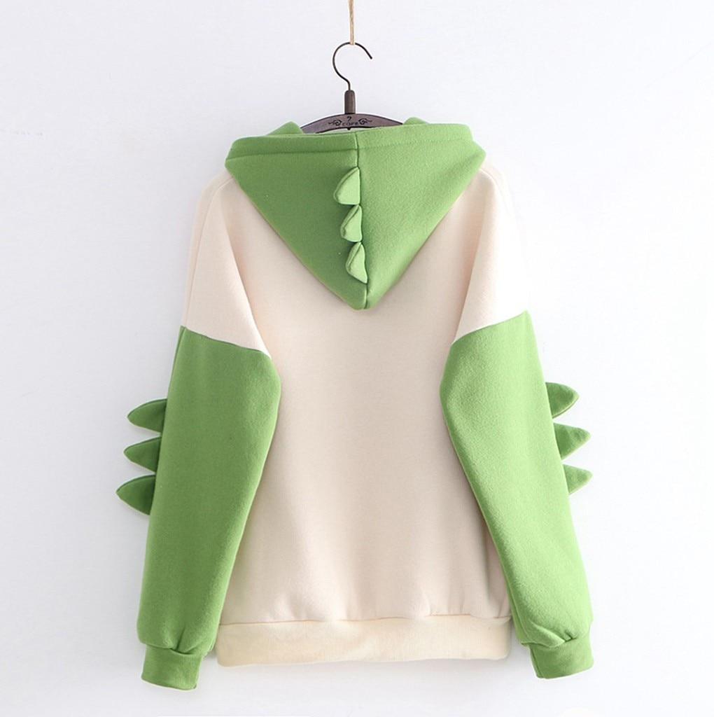Sondr bonito dos desenhos animados moda feminina moletom casual impressão manga longa splice dinossauro hoodies moletom topos ropa mujer