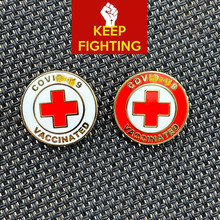 2021 epidemic symbol Red Cross alloy oil drop fashion collar pin