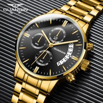 GUANQIN Relogio Masculino Men Watches Luxury Famous Top Brand Men's Fashion Casual Dress Watch Military Quartz Wristwatches Saat