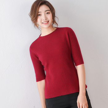 Cashmere sweater womens new short-sleeved 100% wool jacket casual fashion knitted clothing
