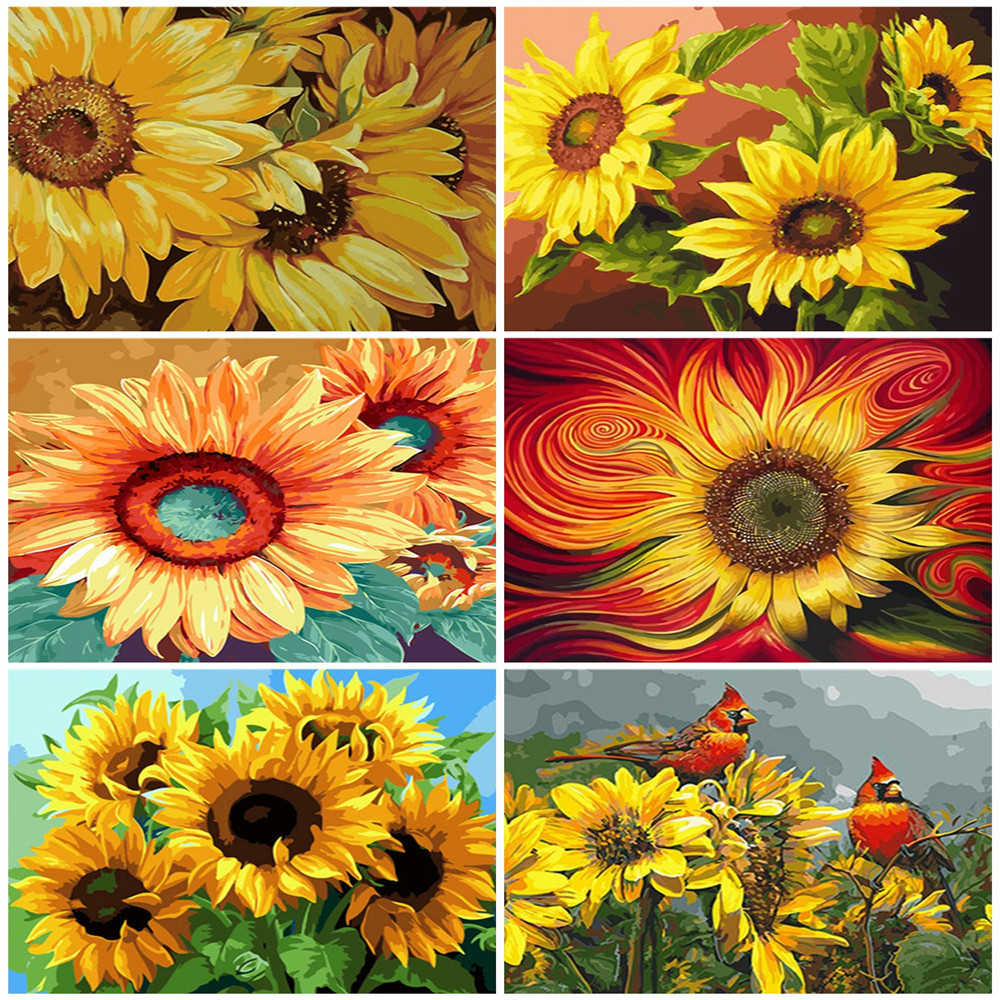 Flowers Painting Numbers Kits DIY Number Canvas Hand Paint Painting Sunflowers