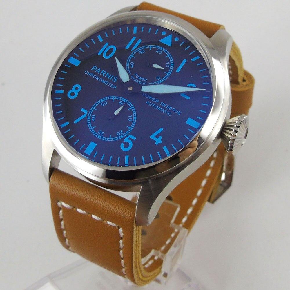 Parnis 47mm men's watch power reserve black dial blue marks luminous big crown ST2542 Automatic movement wrist watch 1195 Mechanical Watches     - title=