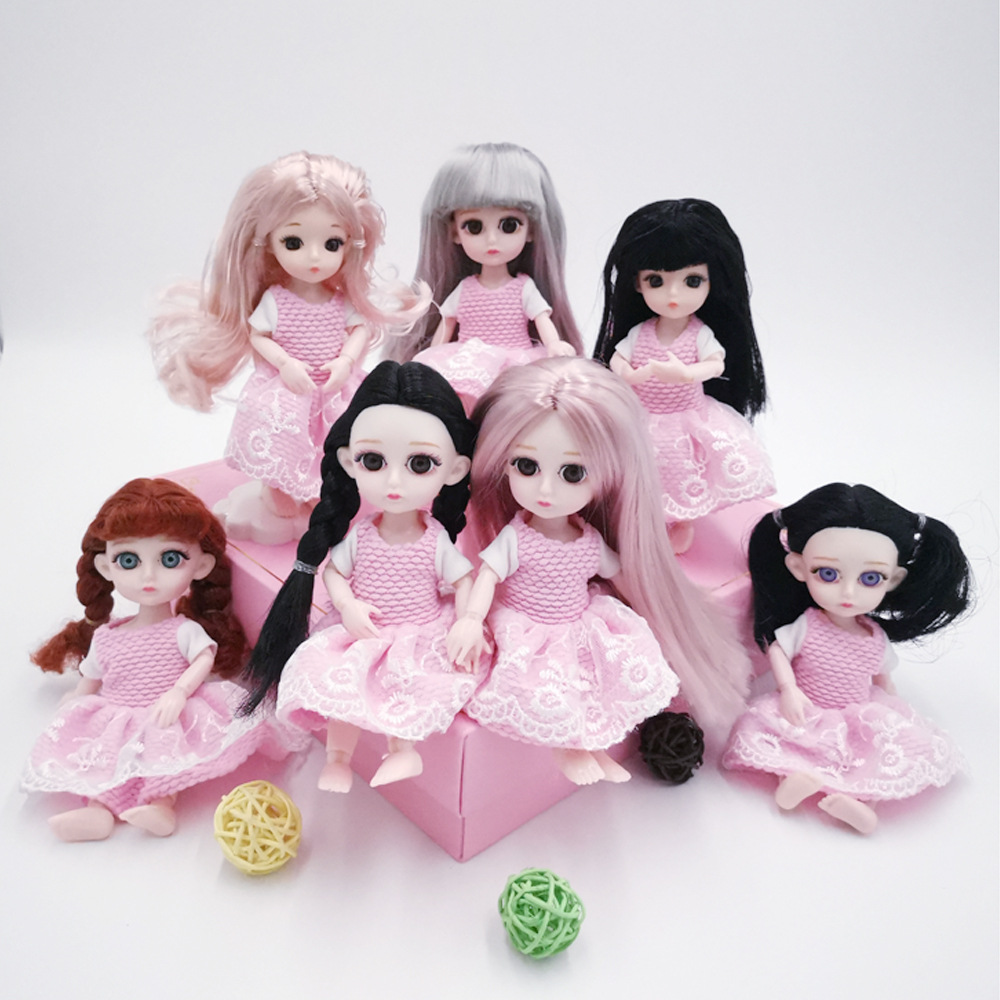 1/8 Bjd Doll Clothes 16cm Baby Doll Accessories Pink Dress For Dress Up Boby Doll Diy Toys For Girls Children's Toy
