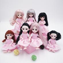 1 8 ubranka dla lalek bjd 16cm laleczka bobas akcesoria różowa sukienka dla element ubioru ciała lalki Diy zabawki dla dziewczynek dzieci zabawki dla dzieci tanie tanio MUQGEW Tkaniny for 16cm doll Płaszcz only clothes not include doll aby Doll Accessories Unisex Moda