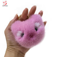 Fashion Cute Mink Fur Cat face Plush Keychain Chain Animal Pendant Woman Bag Charms Pompom Car Keychain Party Ring Gift