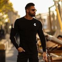 2019 Male T shirt Tights Running Sport Running Long Sleeve Cotton Tops Tees Men Compression Shirt Fitness T shirt Clothing