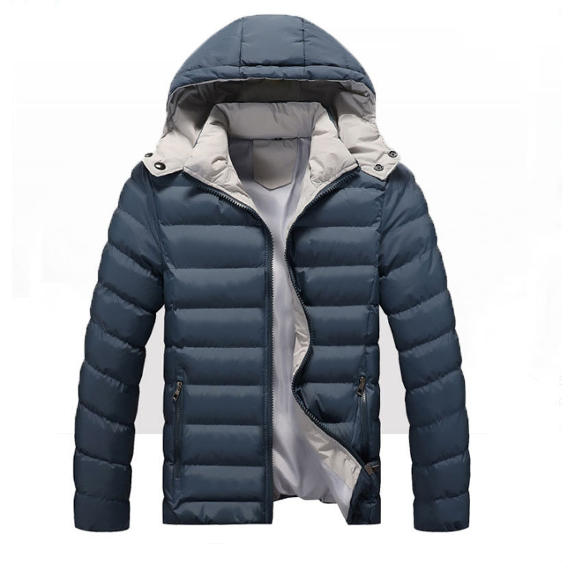Winter New Men's Thickened Removable hooded Cap men's solid thick Warm casual men's jackets winter   parkas