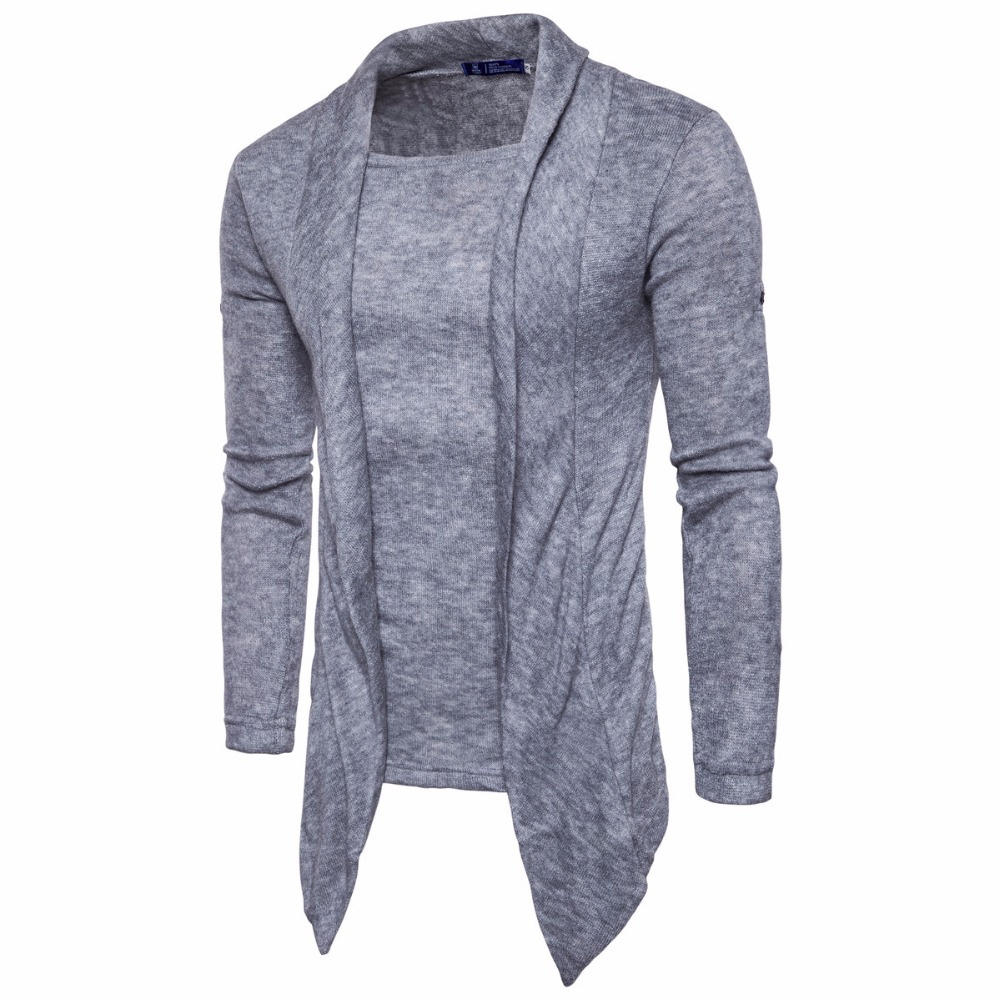 Men Sweaters Autumn Winter Clothing Fashion Leisure Solid Fake Two-piece Knitting Pullover Sweater For Male Plus Size S-2XL