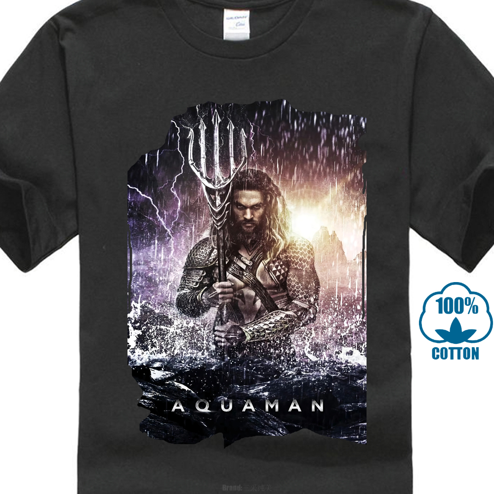 Men'S Jason Momoa As Aquaman Poster 2019 T Shirt Streetwear harajuku Print Cotton funny t shirts men