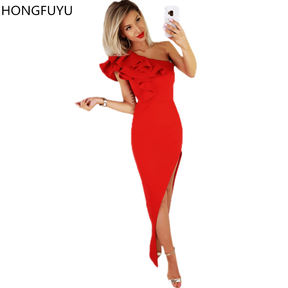 HONGFUYU Long Red   Prom     Dresses   One Shoulder Satin Ruffles Sexy Side Slit Vestidos Evening Gowns for Formal Party Floor Length
