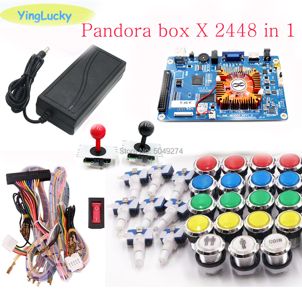 Pandora Box 3D 2448 Kit WiFi DIY Arcade Kit + 33mm LED Buttons + Copy SANWA Joystick Arcade Console Machine Home Closet Package