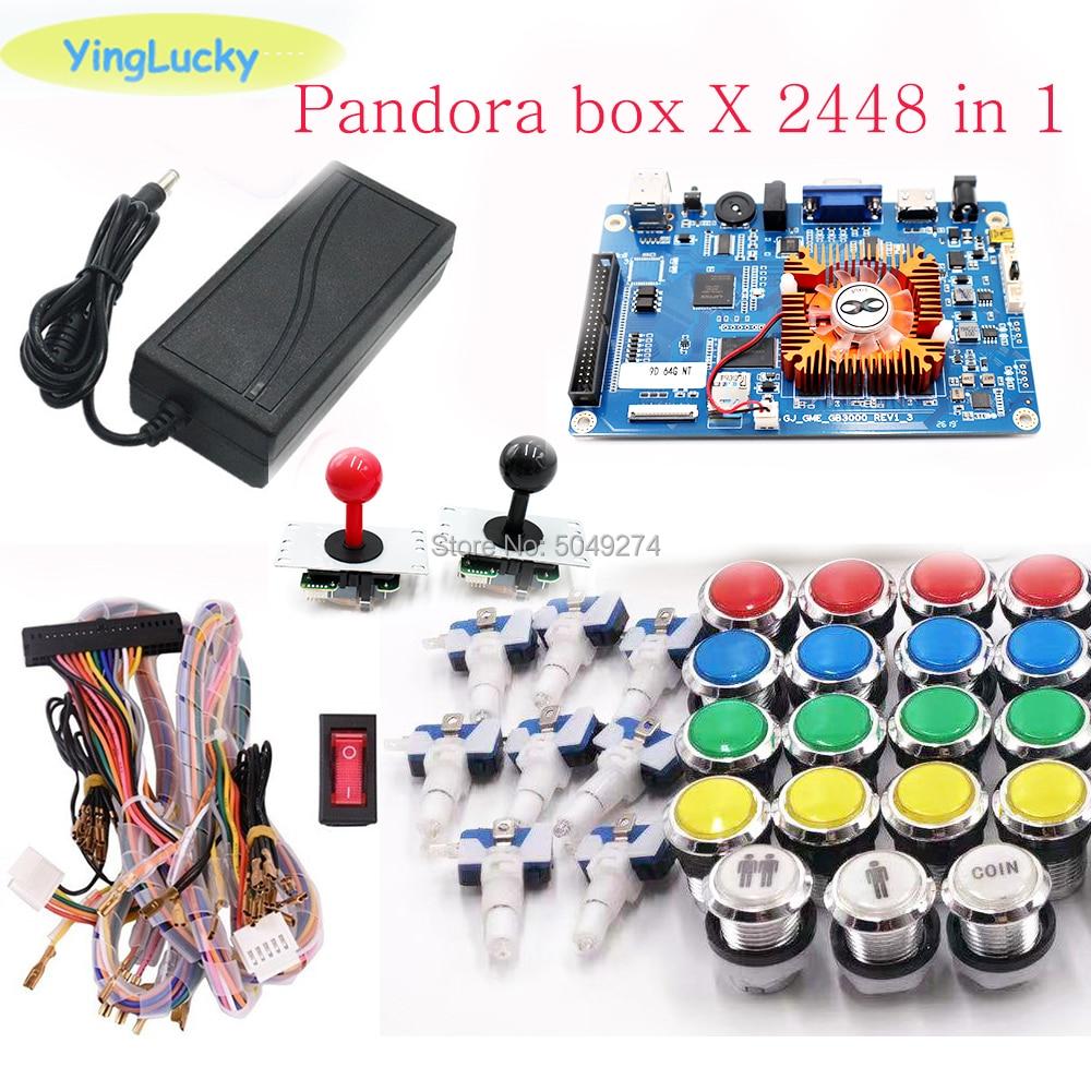 Pandora Box 3D 2448 Kit WiFi DIY Arcade Kit + 33mm LED Buttons + Copy SANWA Joystick Arcade Console Machine Home Closet Package