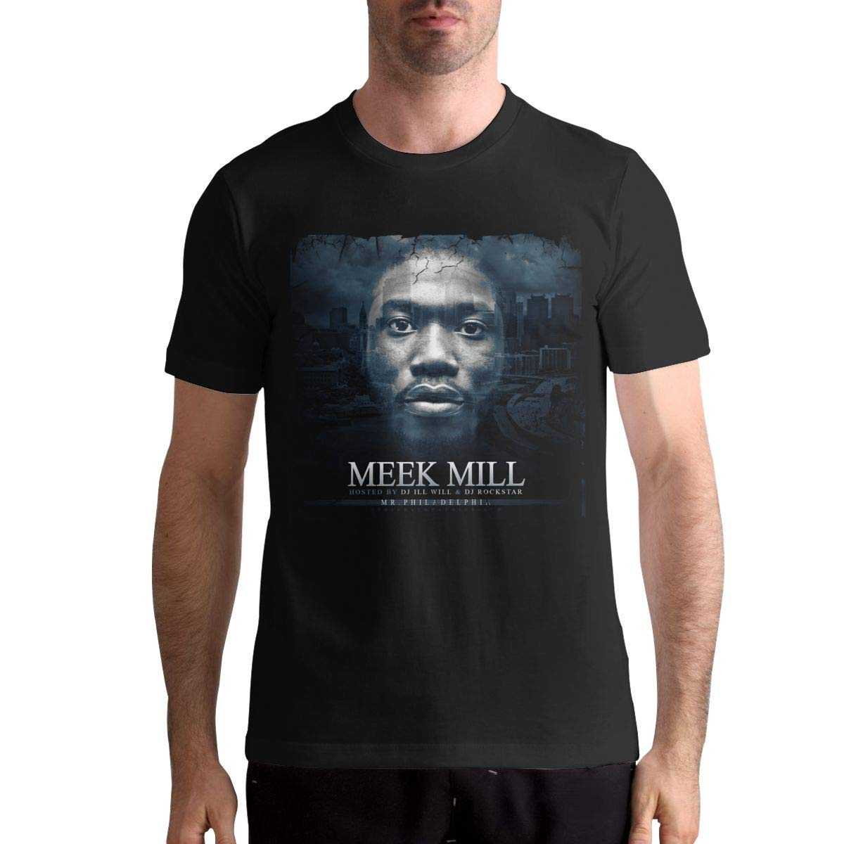 Hye D Riche Meek Mill-from The Morning Heat Mens Funny Short Sleeve Music Band T-Shirts Shirt Black