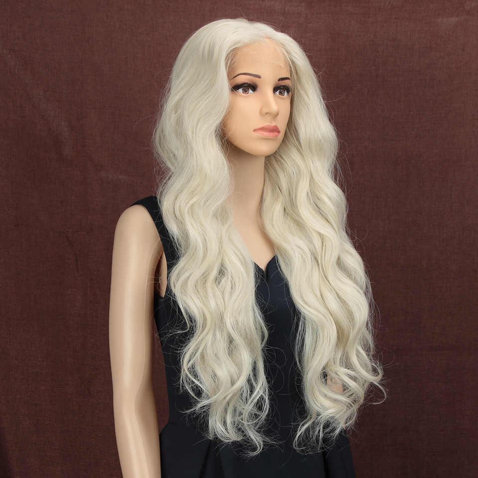 Magia 28 Polegada mão amarrada 360 luz cor branca parte livre futura fibra perucas de cabelo longo resistente ao calor perucas sintéticas da parte dianteira do laço