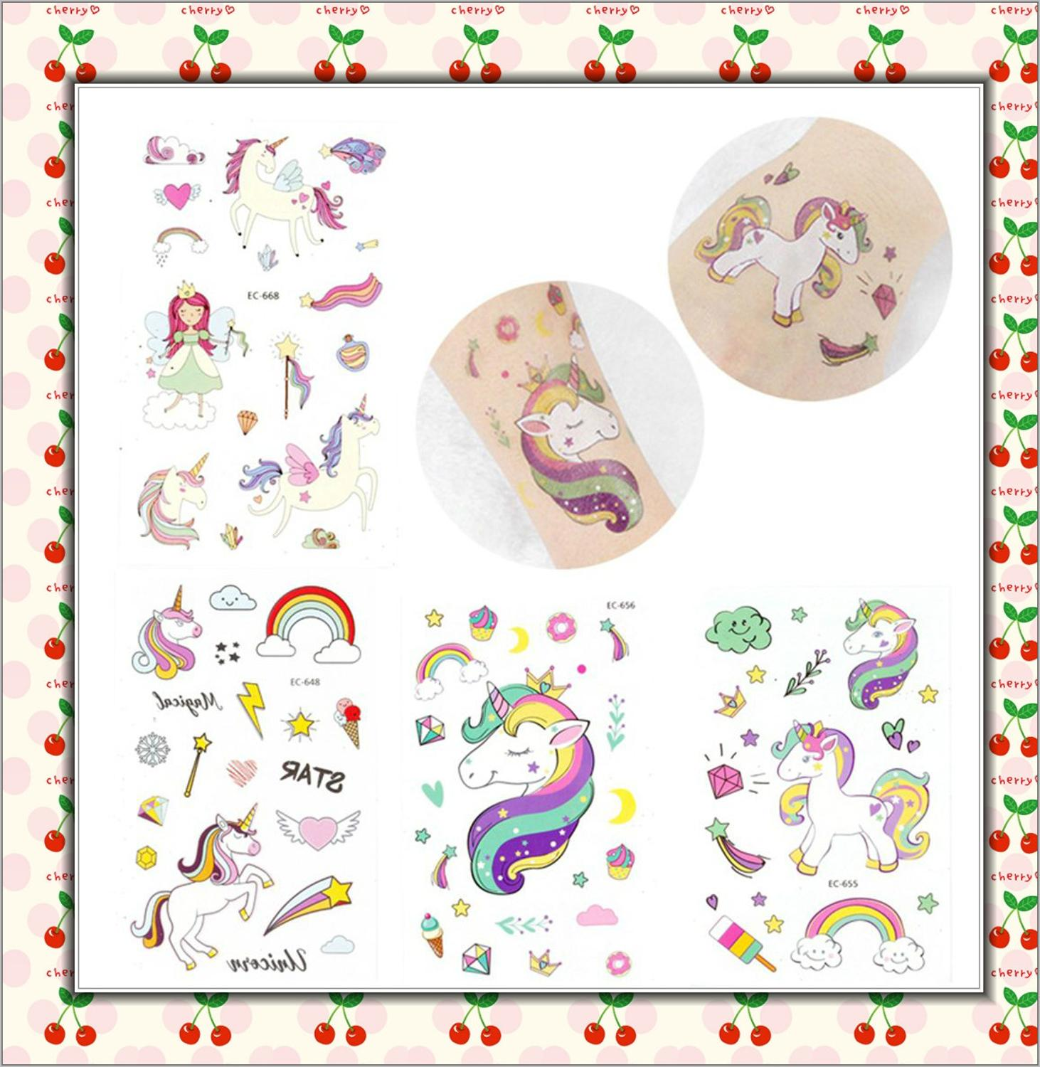 5Pcs Disposable Tattoo Sticker Unicorn Party Decoration Baby Kids Unicorn Birthday Party Favors Temporary Tattoos Supplies 2