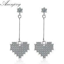 ANENJERY Delicate Silver Color Dazzling Zircon Love Heart Earrings For Women pendientes Oorbellen S-E357