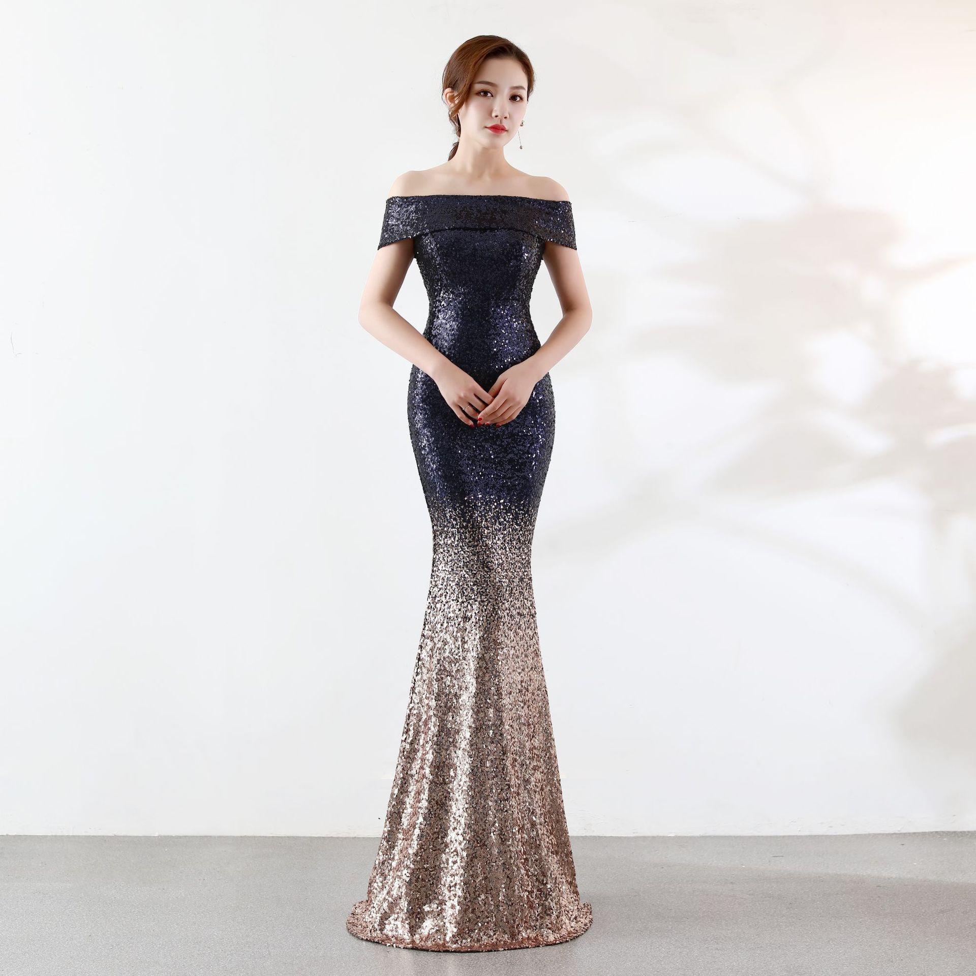 US $20.20 20% OFFNew Sequin Mermaid Long Dress Off the Shoulder Formal  Dress Women Elegant Robe Soiree Dubai Kleider Damen Abendkleid
