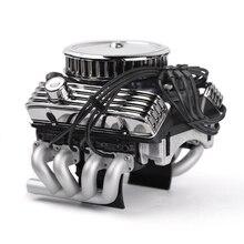 Rc カー F82 V8 シミュレートエンジンモータ冷却ファンラジエーター 1/10 RC クローラためトラクサス TRX4 軸 SCX10 90046 Redcat GEN8