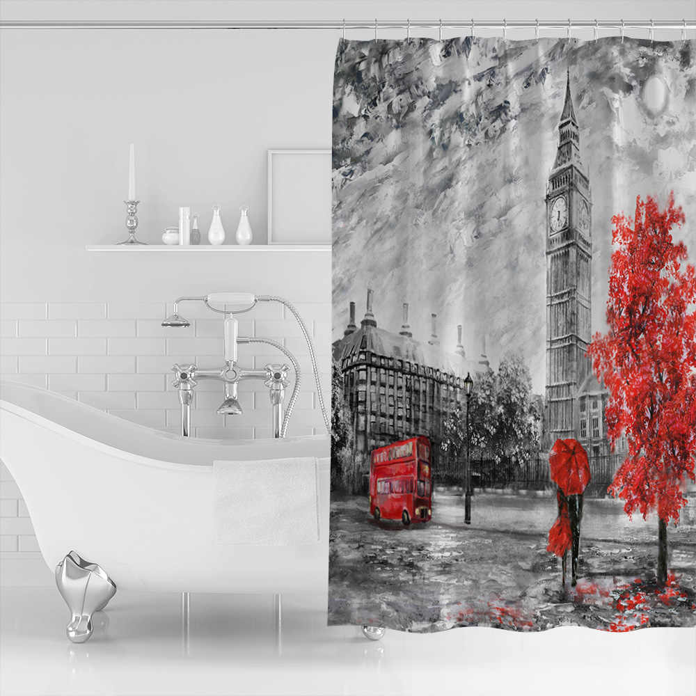 Cortina de ducha de tela de poliéster impermeable con pintura al óleo de árbol de autobús paraguas rojo de Londres decoración del hogar Cortina de ducha de baño