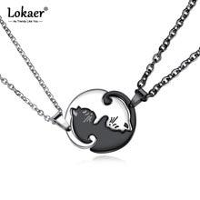 Lokaer-Colgante de acero inoxidable con diseño de gatito para parejas, collar, Gargantilla, diseño Animal, con costura de titanio, N17086