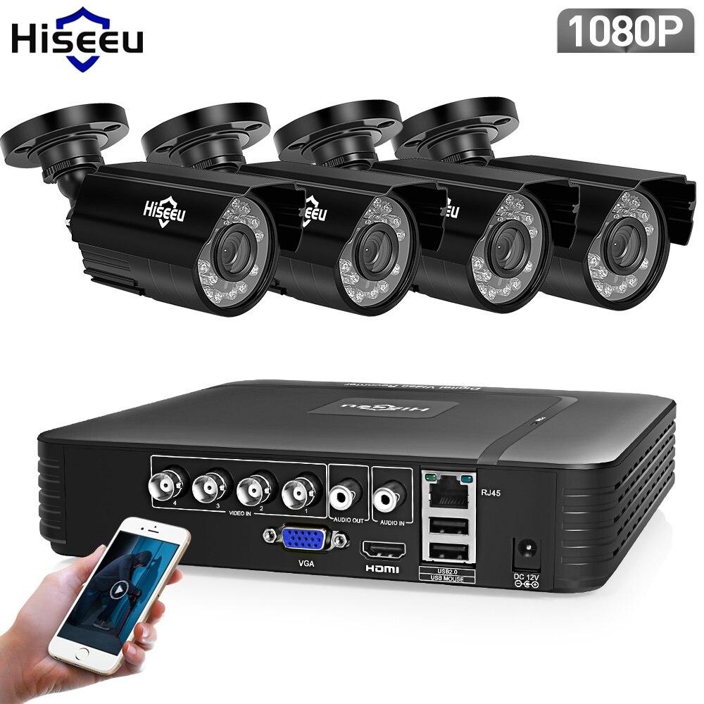 Hiseeu 4CH CCTV Sistema 1080P HDMI Opção 4PCS 1080P 2.0 MP AHD CCTV DVR Segurança Ao Ar Livre IR câmera AHD Kit Câmera de Vigilância