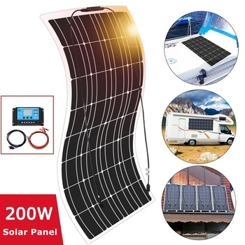 цена на 200W Flexible Monocrystalline Solar Panel Kit Famous China Solar Panel For Car RV Boat Home Proof 12V Battery Charger