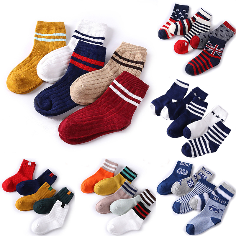 Baby Boy Socks 5 Pairs Children Autumn Winter Cartoon Socks For Girls Kids For Girls To School Sport Baby Girl Clothes Striped