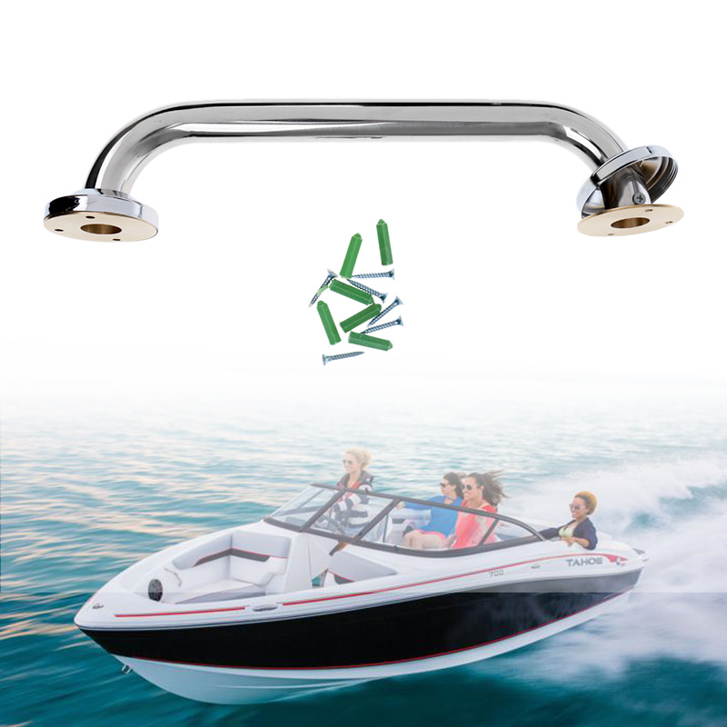 Polished Stainless Steel Grab Handle Handrail with LED Light For Boat Marine