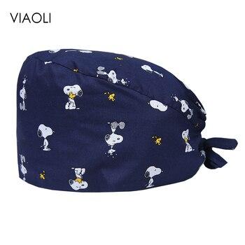 цены new Pet Veterinary Surgical Cap Medical Work Caps Nursing Hats Ground Cap Tieback Straps Adjustable Sweatband Dental Clinic Hats
