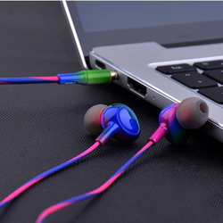 3.5mm In-ear Wired Earphone Gradient Colour Earbuds Headphone Headset With Microphone Hands Free For Mobile Phone