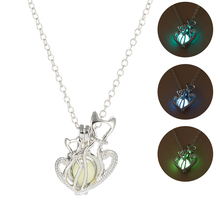 Cute Cat Heart Shape Glow In The Dark Pendant Necklace Fashion Hollow Luminous Stone Necklace Classic Halloween Women Jewelry classic heart pendant
