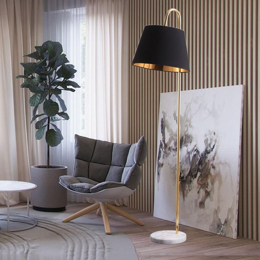 북유럽 로프트 led 플로어 램프 검은 천으로 전등 갓 서 램프 거실 플로어 램프 침실 장식 스탠드 전등