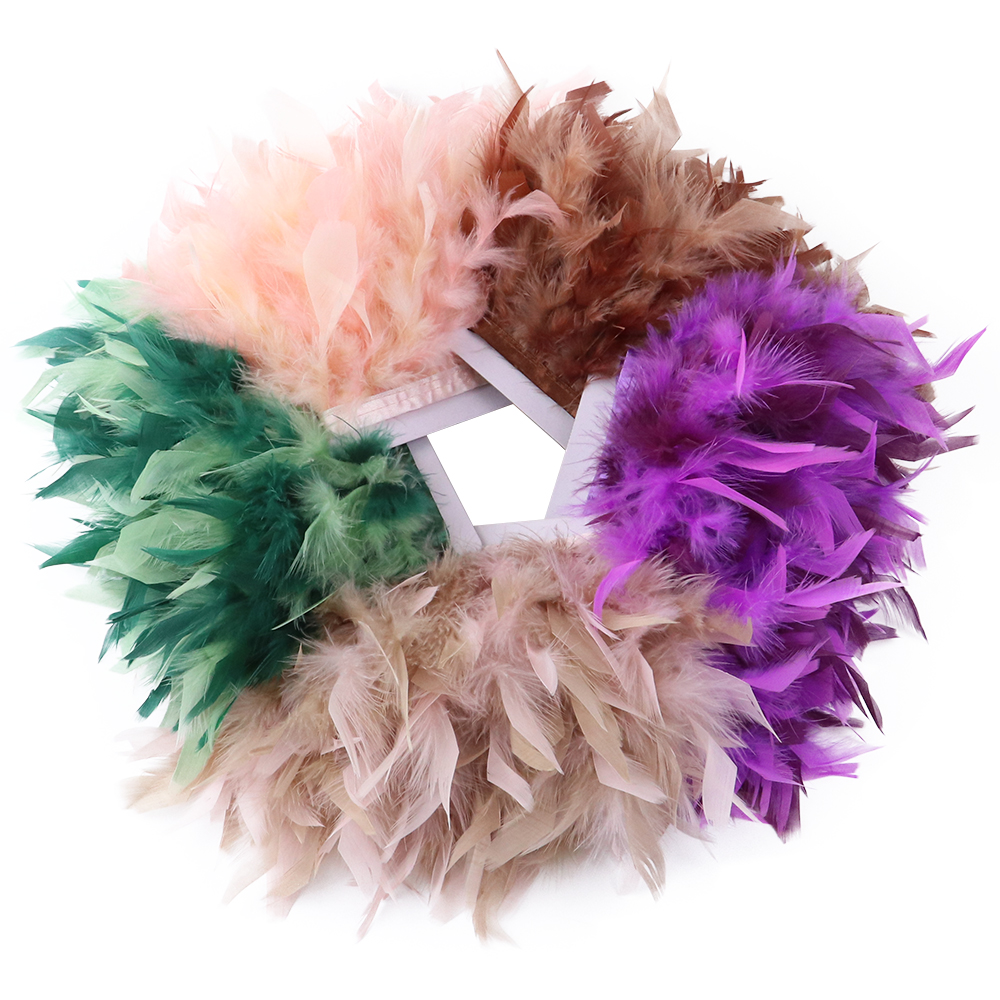 1 Meter Fluffy Chandelle Feather Trim 4-6inch Dress Skirt Sewing Ribbon Crafts Plumes Wedding Party Decoration