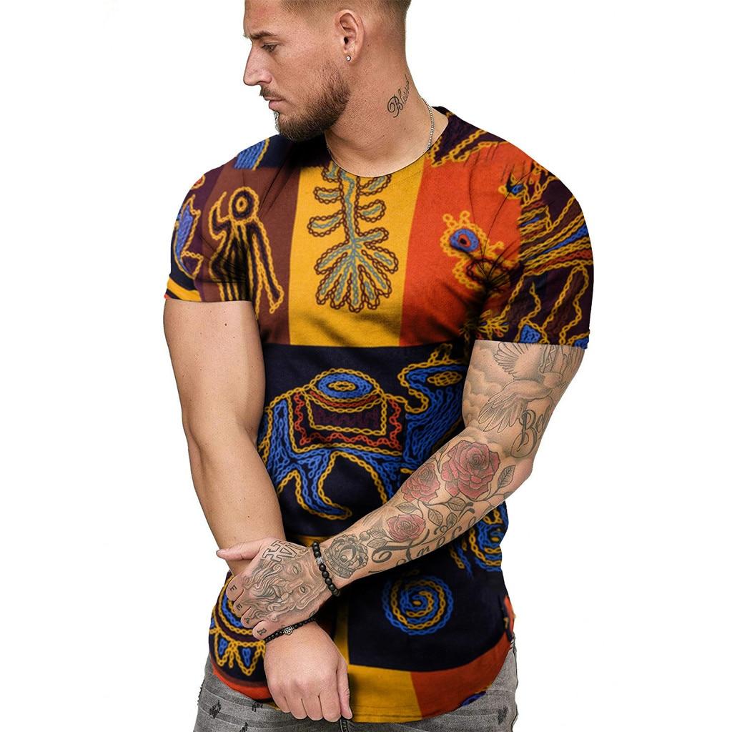 African Print Men's t shirts Summer Casual …