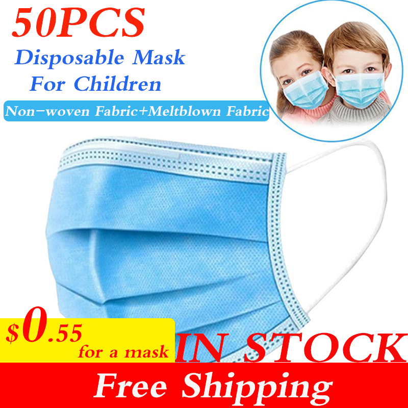 IN STOCK 50 PCS Fast Shipping 3 Layers Disposable Mask For Children 9-16 Years Anti-dust Protective Mask Professional Mouth Mask