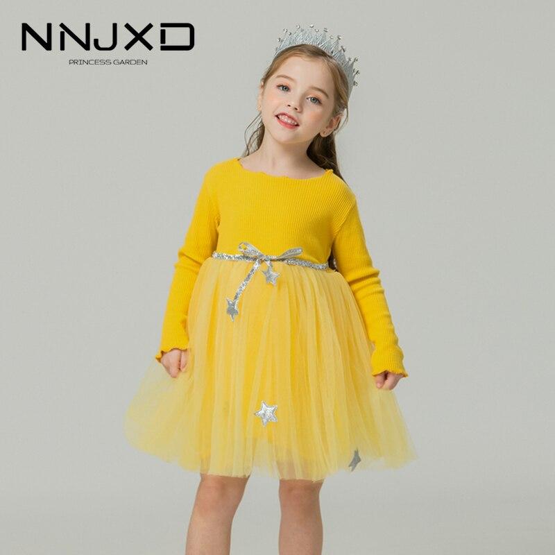 À manches longues robes tricotées pour les filles automne hiver décontracté vêtements de maison couleur bonbon mignon 2-7T bébé filles robe Tulle enfants vêtements