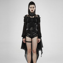 PUNK RAVE Women Dark Night Knight Heavy Metal Bat Cloak Pu Leather Light Chiffon Bat-shaped Perspective Hansome Cape(China)