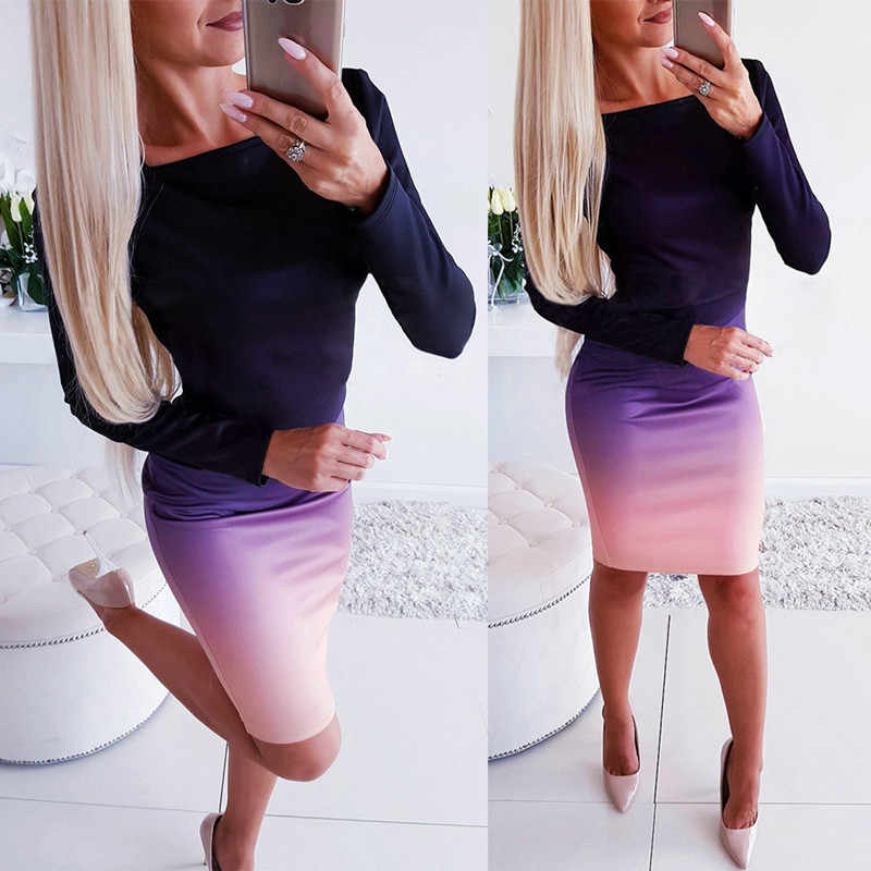 LOSSKY Office Lady Elegant Dress Women New Long Sleeve Ladies Stretch Bodycon Dress Flat Long Gradient Tunic OL Dresses Vestidos