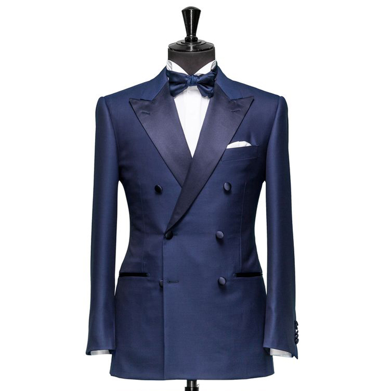 Peaked Lapel Navy Business Men Suits For Wedding 2018 Double Breasted Two Piece Custom Made Groom Tuxedos (Jacket + Pants)