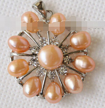 +++828 30mm snowflake shape pink Freshwater pearls necklace pendant(China)