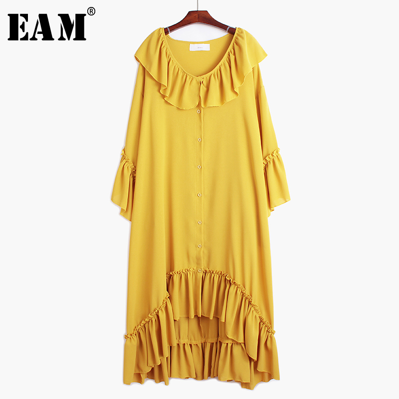 [EAM] Women Rufflefs Split Joint Asymmetrical Big Size Dress New V-Neck Long Sleeve Loose Fit Fashion Spring Autumn 2020 1S522