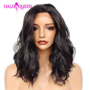 HALOQUEEN Body Wave Wigs Short Wigs Brazilian Pre Plucked Lace Front Human Wigs Remy Lace Wigs 13x4 Lace Frontal Human Hair Wigs peruvian water wave lace front human hair wigs lace frontal wigs 13x4 pre plucked natural hairline 150% remy bob wigs